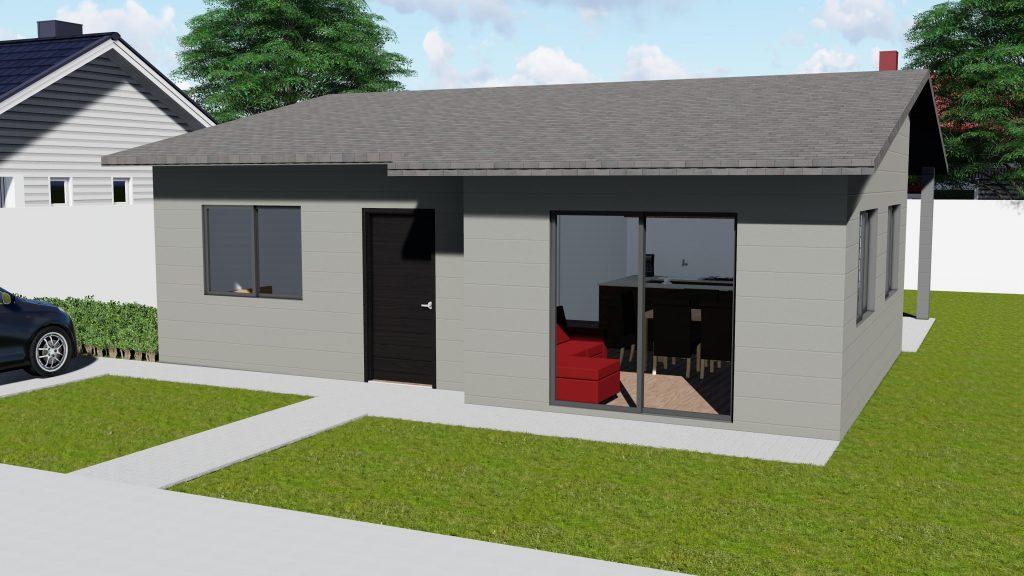 casa em steel frame com telhado modelo 82